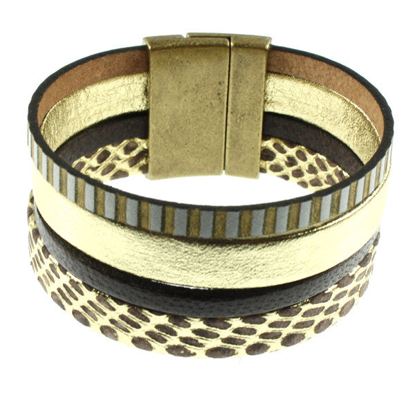 Gold & Striped Cuff, 4 strand