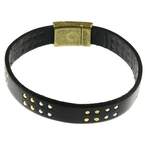 Black Studded Cuff, Single Strand