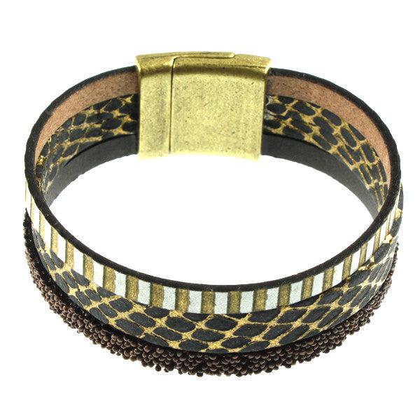 Black & Brown Cuff, 3 Strand
