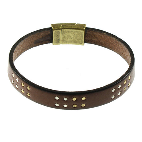 Brown Studded Cuff, Single Strand