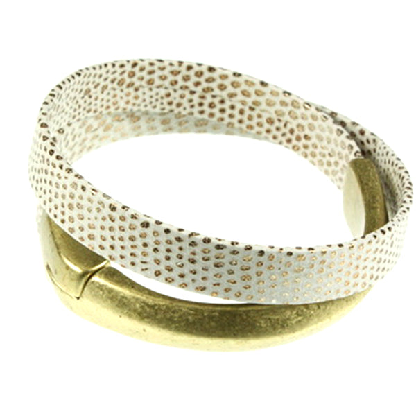 White & Gold Cuff, Double Wrap