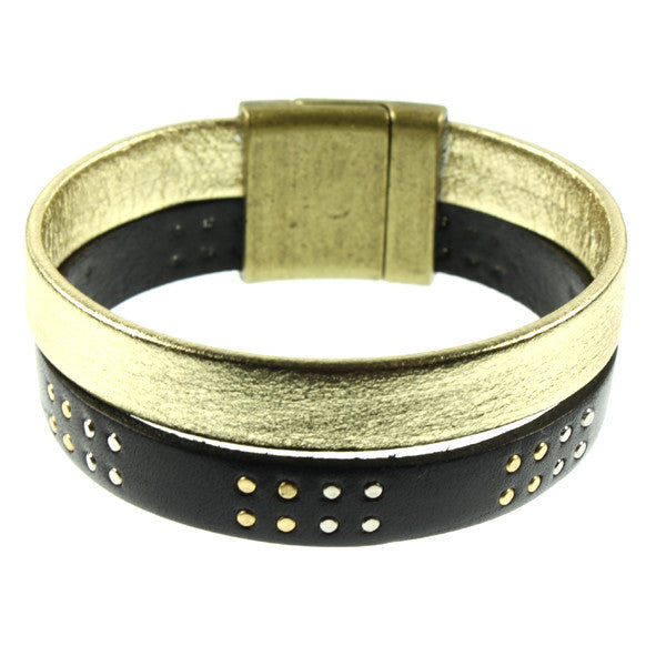 Black Stud & Gold Cuff