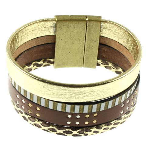Brown Studded & Gold Cuff, 4 Strand