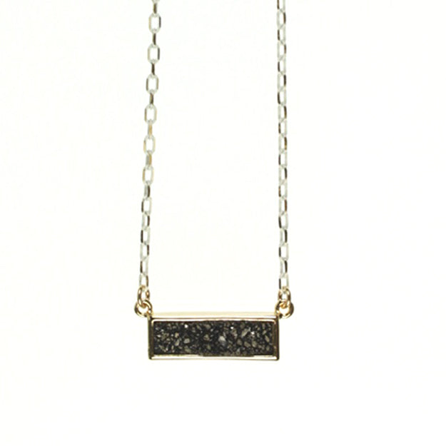 Drusy Necklace, Black