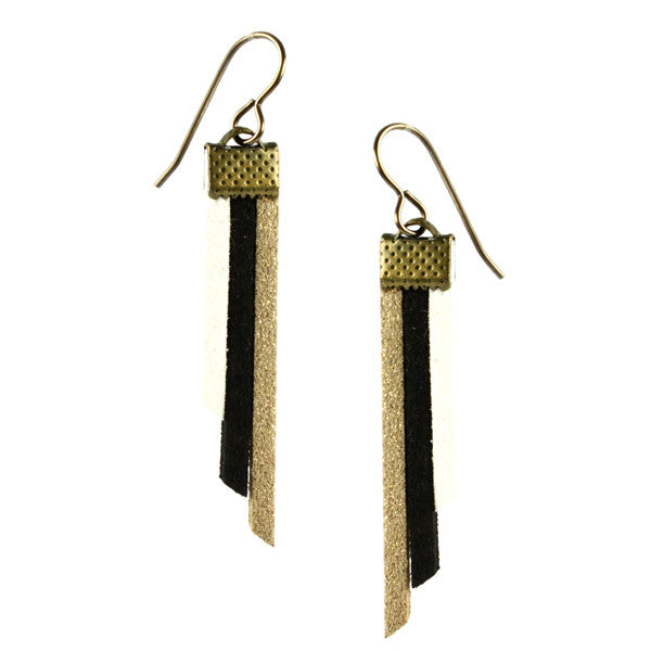 Fringe Earrings, Gold, Black & White