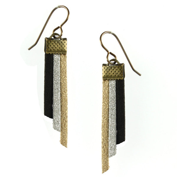 Fringe Earrings, Navy, Gold & Silver