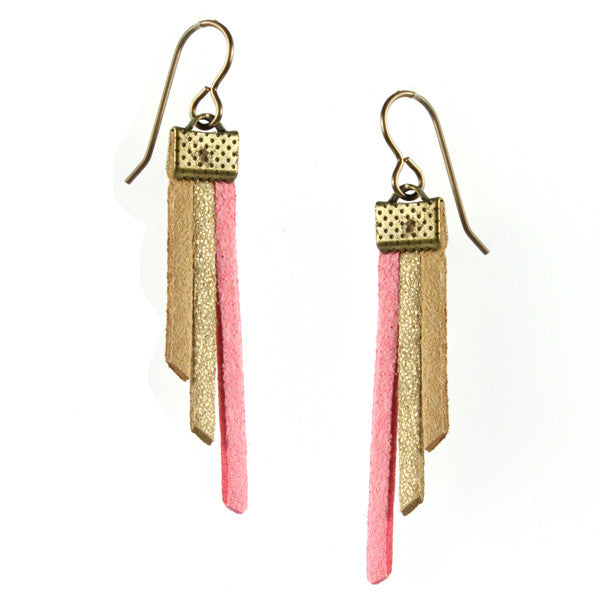 Fringe Earrings, Pink & Gold