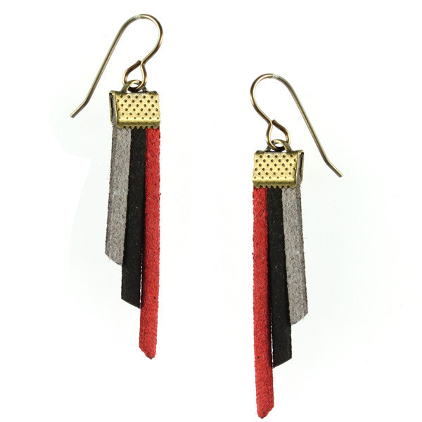 Fringe Earrings, Red, Black & Grey