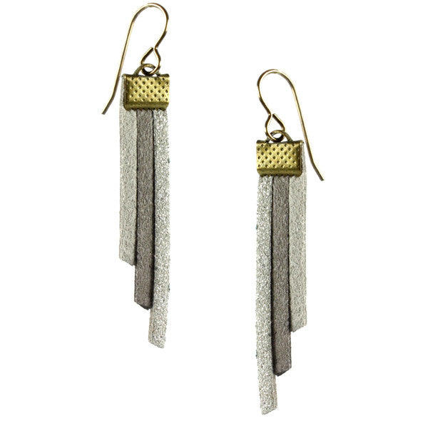 Fringe Earrings, Grey & Silver