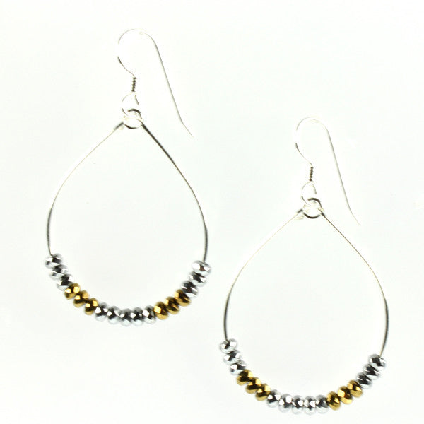 Gold & Silver Faceted Hematite