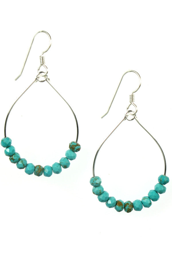 Turquoise, Silver Hoops