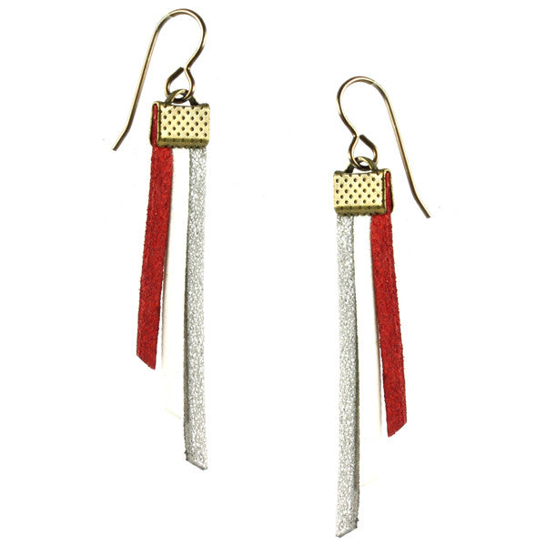 Fringe Earrings, Silver, Red & White