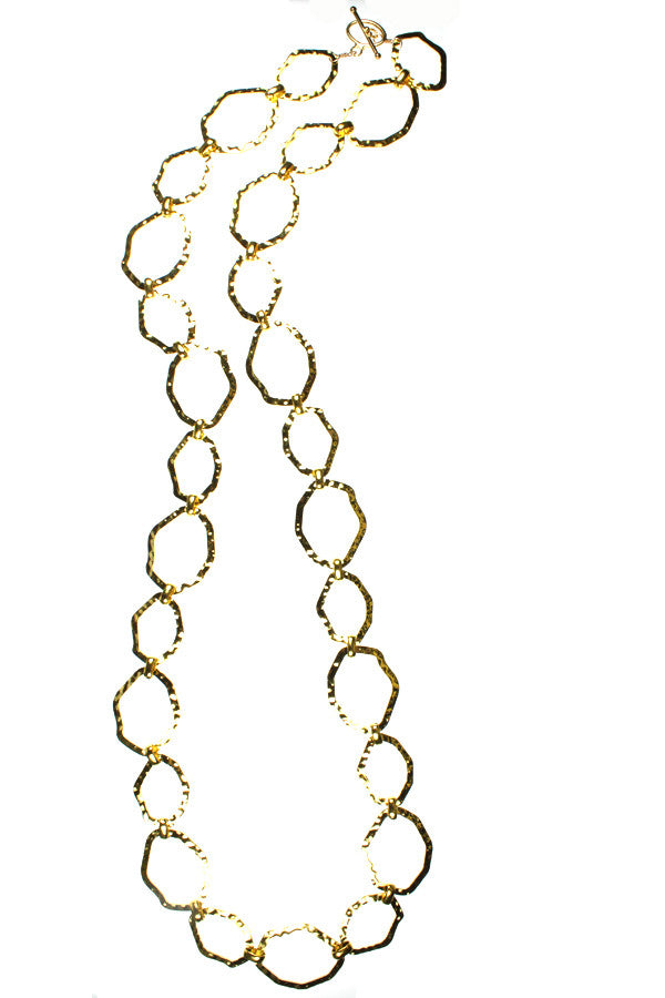 Gold Hammered Chain, Long