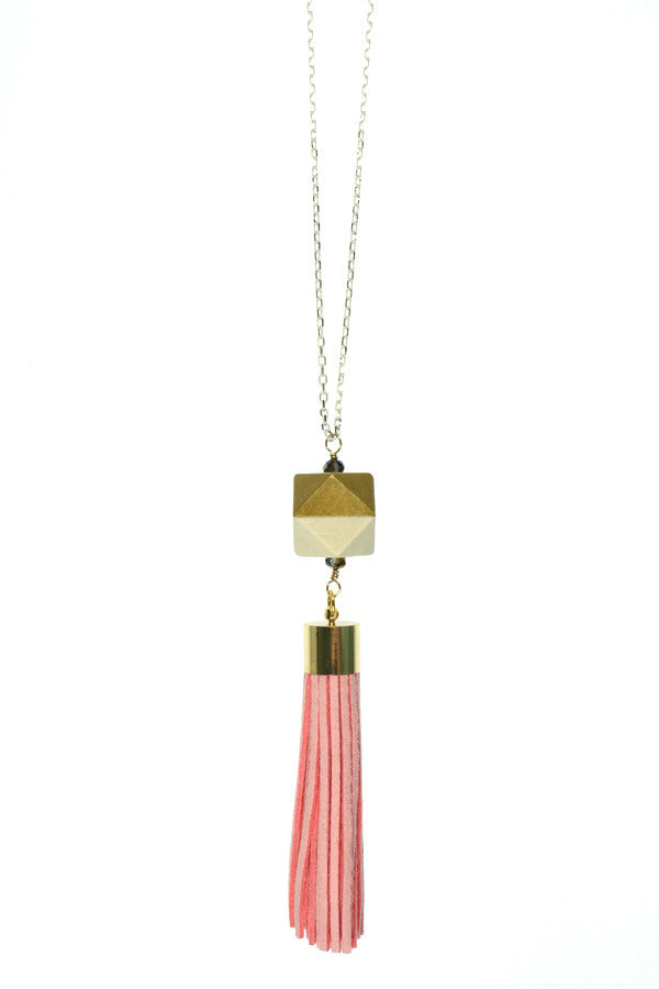 Pink Tassel, Gold Wood