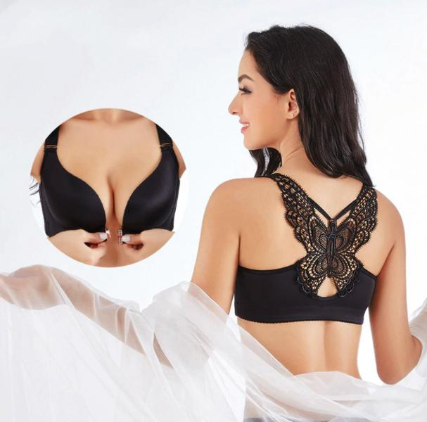SERA™: Butterfly Embroidery Front Closure Wireless Bra