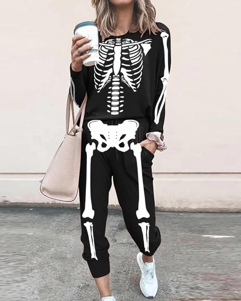 ELLEBABE™: Halloween Skeleton Print Top & Pocket Design Pants Set