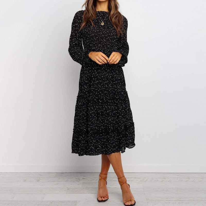 Polka Dot Print Ruffled Midi Dress