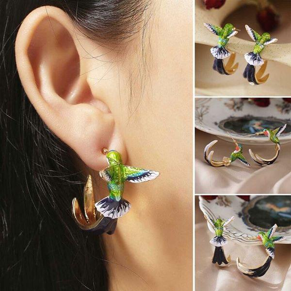 NASS™: Flying Hummingbird Oil Painting Earrings