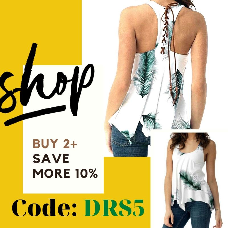 Dressy™: Feather Lace Up Tank