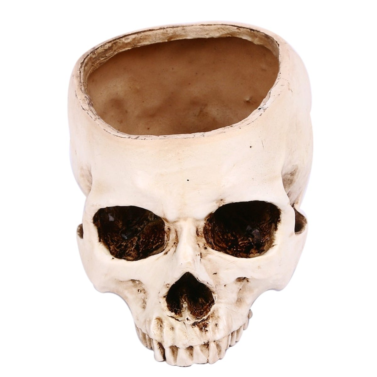 Halloween Resin Human Skull Head Flower Pot Decoration