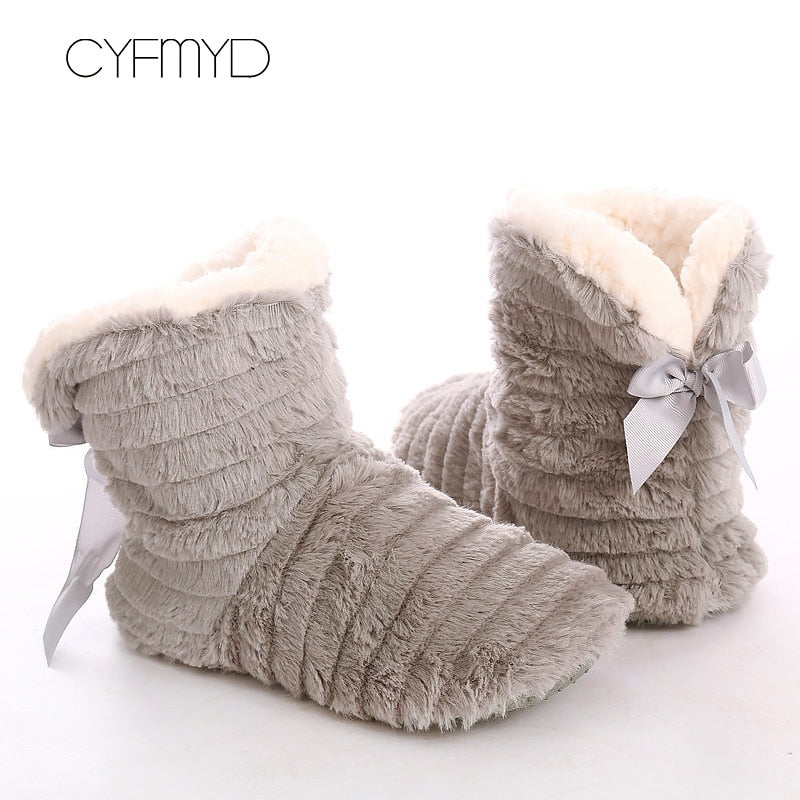 HANAH™: Fur slippers Butterfly-knot
