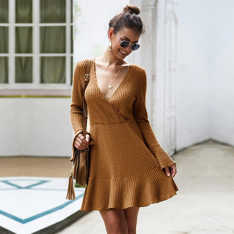 FlareDress ™: Sleeve Solid Knitted Dress