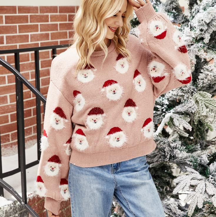 OvaFashion™: Christmas Santa Claus Print Fluffy Knit Sweater