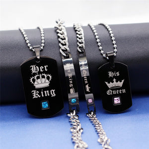 FaithfulOne™: Her King His Queen couples necklace & bracelet set
