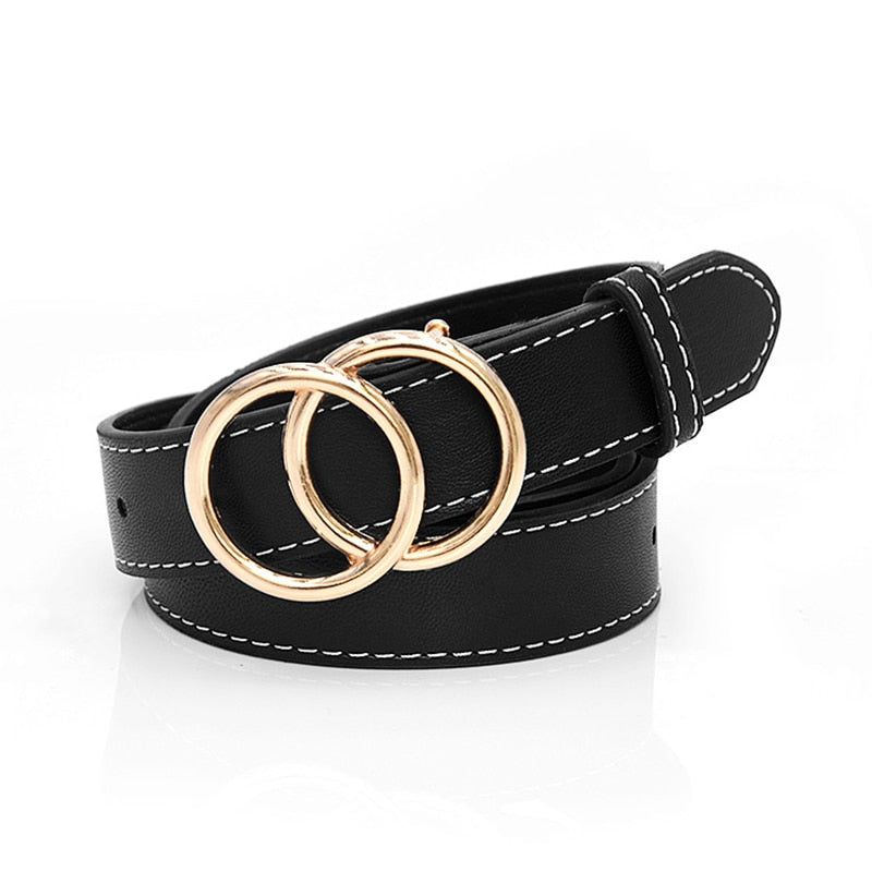 ADOLE™: Double Ring Fashion Leather Waist Belt
