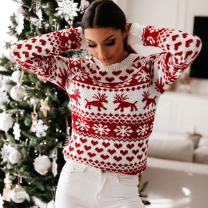 OvaFashion™: Christmas Reindeer Heart Snow Print Knit Sweater