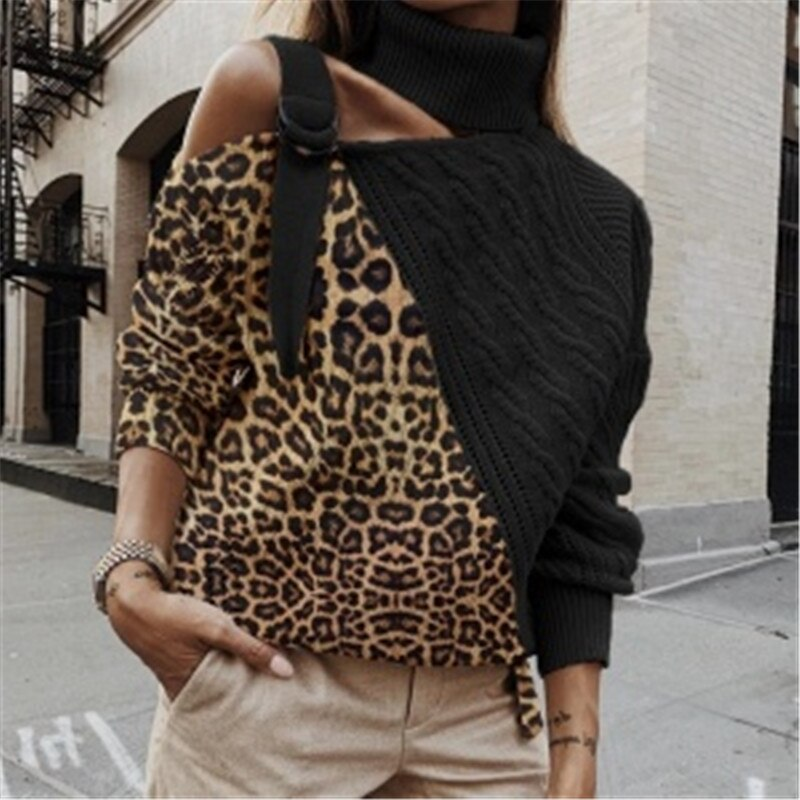 Pullbear™: Leopard Turtleneck Knit Sweaters