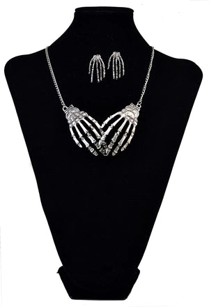 ScaryThings™: Palm Bone Punk Halloween Necklace/ Earrings jewelry Set[50% OFF]