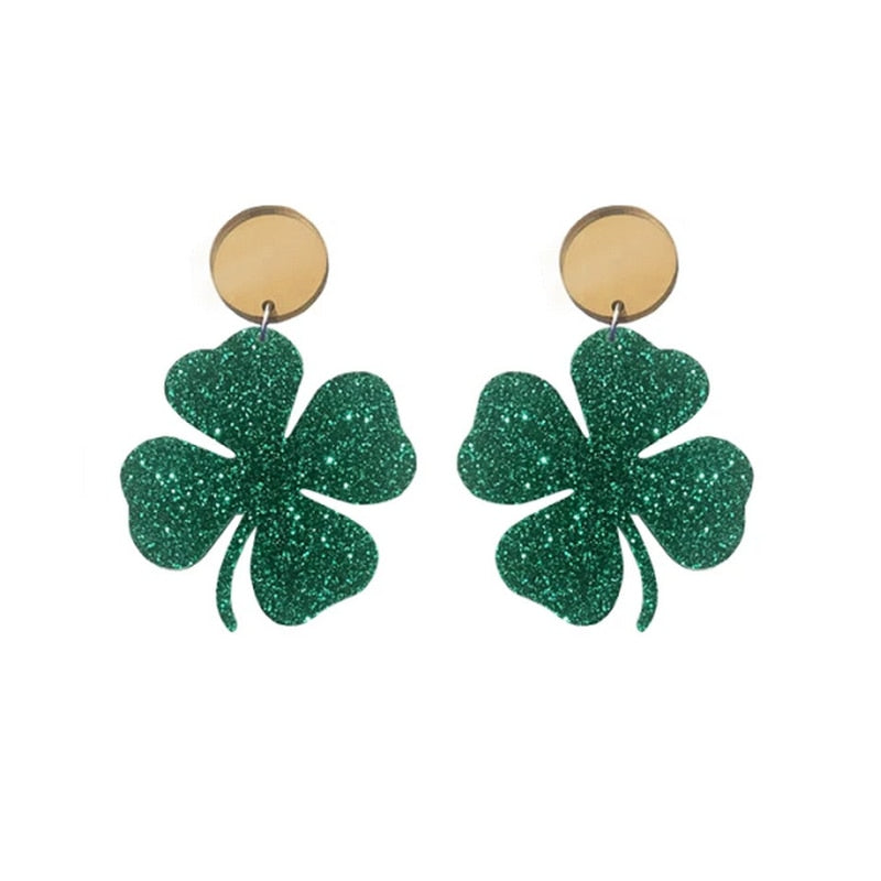Honey™: Patrick's Day Green 4 Leaf Clover Earrings