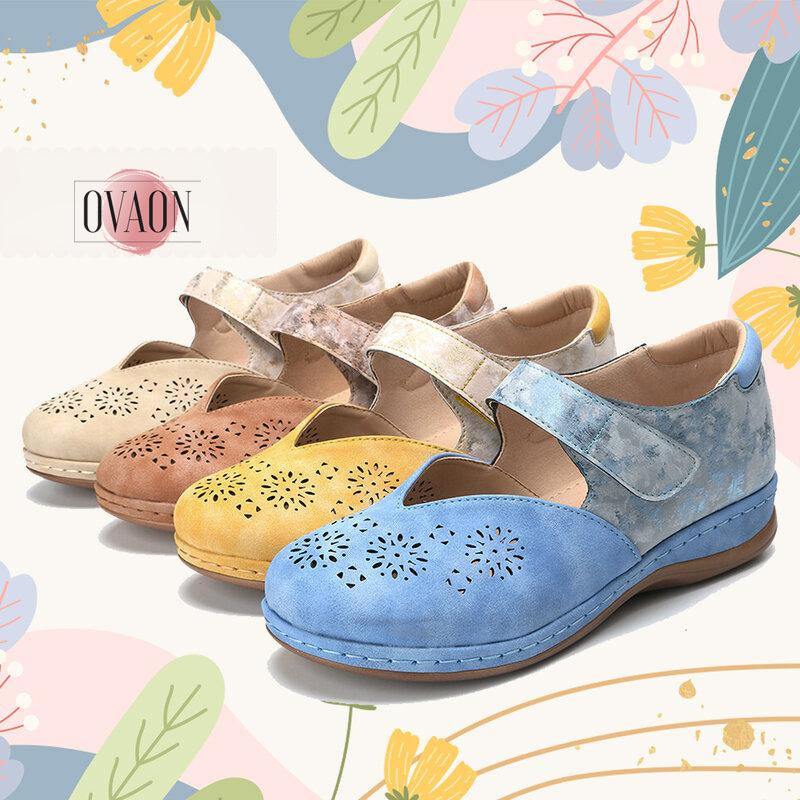ROSY™: Cloud Print On Leather Women Slip On Shoes