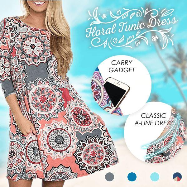 Vibez™: Floral Tunic Dress With Pockets