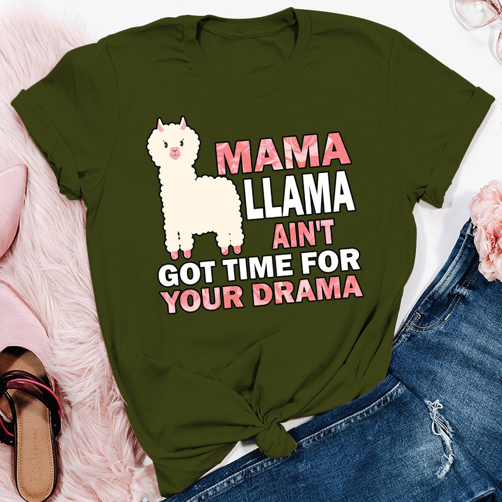Ovaon Funny Quote Unisex Plus Size Mama Llama Ain't Drama With Sayings Gift Mother's Day T Shirt