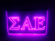 Load image into Gallery viewer, Sigma Alpha Epsilon LED Sign Greek Letter Fraternity Light