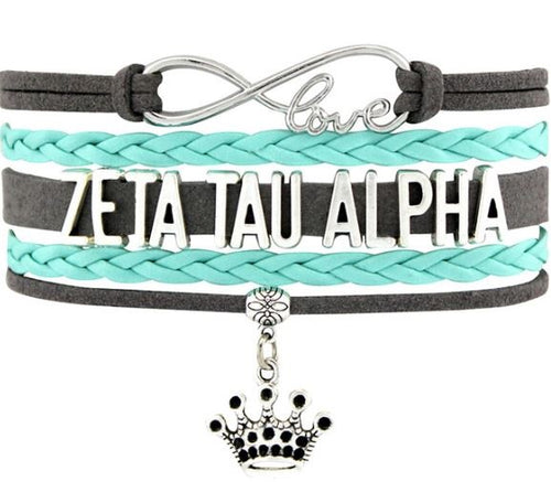 Zeta Tau Alpha Bracelet - Multi Layer Leather - Infinite Love Sorority