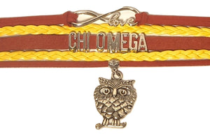 Chi Omega Bracelet - Multi Layer Leather - Infinite Love Sorority