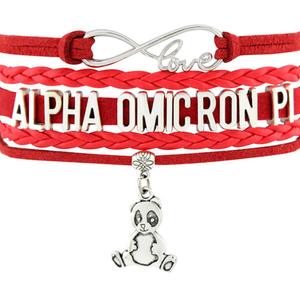 Alpha Omicron Pi Bracelet - Multi Layer Leather - Infinite Love Sorority