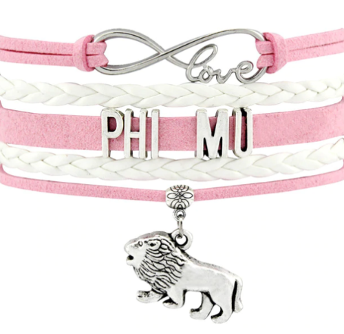 Phi Mu Bracelet - Multi Layer Leather - Infinite Love Sorority