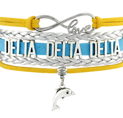 Tri Delt Bracelet - Multi Layer Leather - Infinite Love Sorority
