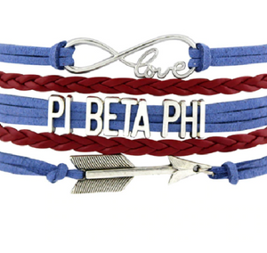 Pi Beta Phi Bracelet - Multi Layer Leather - Infinite Love Sorority