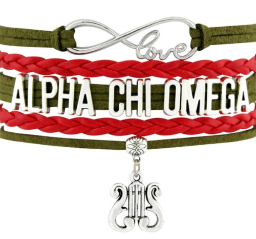 Alpha Chi Omega Bracelet - Multi Layer Leather - Infinite Love Sorority