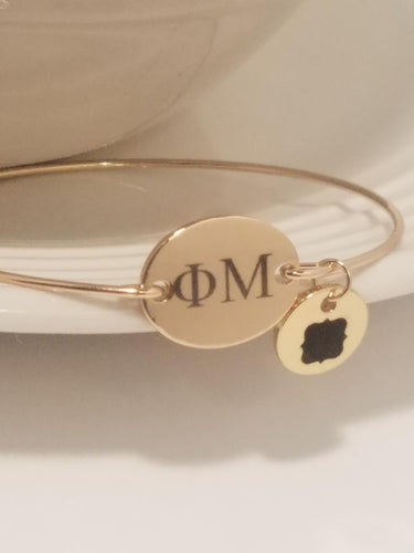 Phi Mu Bangle Bracelet Charm Sorority