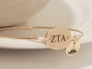 Zeta Tau Alpha Bangle Bracelet Charm Sorority