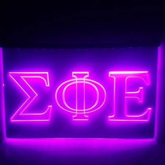 Sigma Phi Epsilon LED Sign Greek Letter Fraternity Light