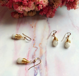 Dainty White Opal Earrings