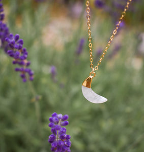 Moonstone Crescent Moon Gemstone Necklace