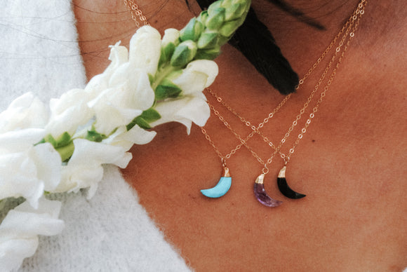 Crescent Moon Gemstone Necklace